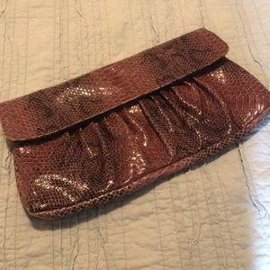 Brown Snakeskin Print Clutch